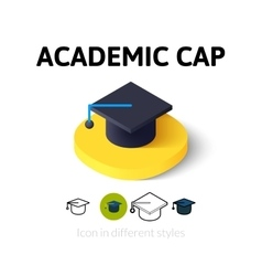 Academic cap icon in different style vector