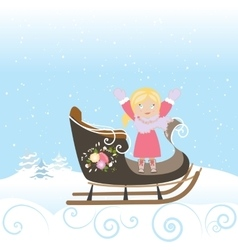 Sled girl child smile christmas winter snowflake vector