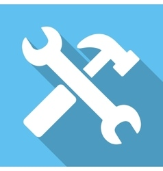 Hammer and wrench flat square icon with long vector