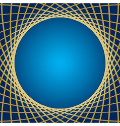 Blue background with distorted gold grid vector