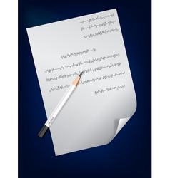 a page of handwritten text and pencil on it vector image