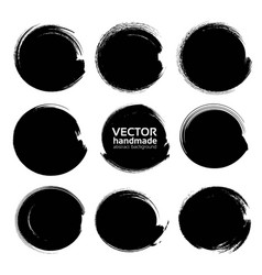 abstract black circle textured ink strokes vector image vector image