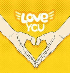 Abstract valentines hearts of human hands love you vector