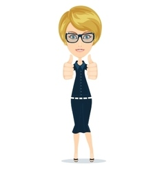 Businesswoman raised his thumb up shows that all vector image
