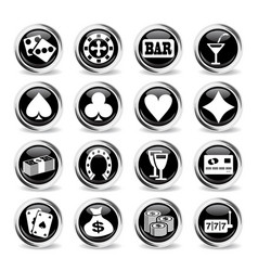 casino icon set vector image