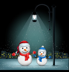 christmas snowmans pillar and night city vector image vector image