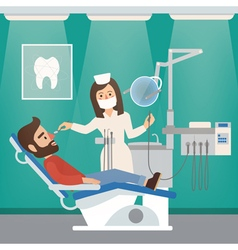 Dentist cabinet interior with doctor and patient vector