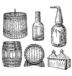 distillery set ink hand drawn vector image vector image