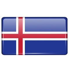 Flags Iceland in the form of a magnet on vector image vector image