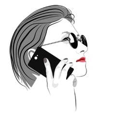 Girl with round sun glasses talking on cell phone vector