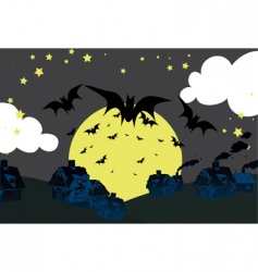 Halloween skyline vector image