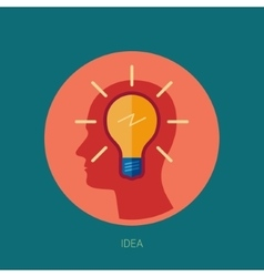 Idea generation adn brain storming flat icon vector