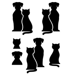 Isolated dog and cat silhouette vector