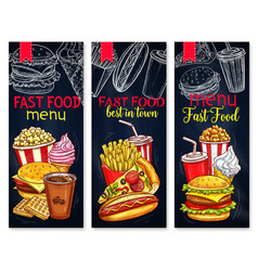 Menu for fast food restaurant banners vector
