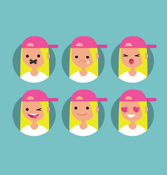 Millennial blonde girl profile pics set of flat vector