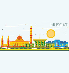 muscat skyline with color buildings and blue sky vector image vector image