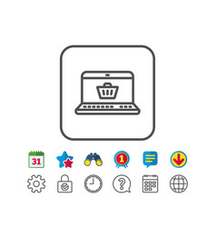 Online shopping cart line icon laptop sign vector