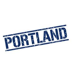 Portland blue square stamp vector