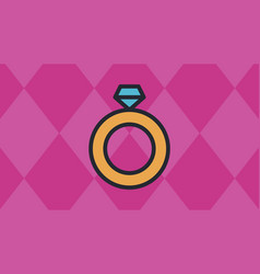 Ring icons with red diamond shaped quadrangle vector