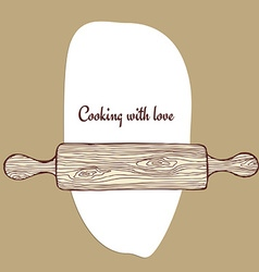 Rolling pin with dough vector