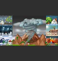 Scenes with different disasters vector