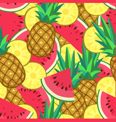 seamless pattern with watermelon and pineapple vector image
