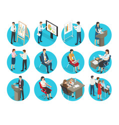 set of business icons with office workers vector image