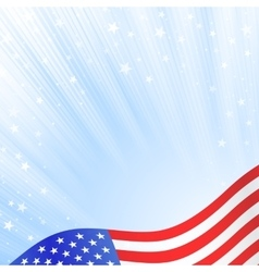 Shiny American national flag waving for Fourth of vector image