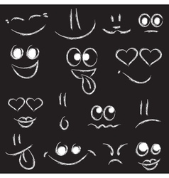Sketches of smiley faces on black background vector image vector image