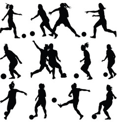 soccer women silhouette girl player vector image vector image
