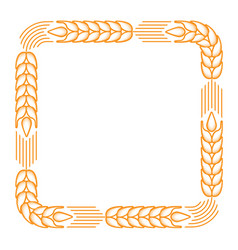 Square frame with border made of ears of wheat vector
