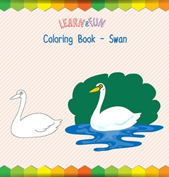 Swan coloring book educational game vector image vector image