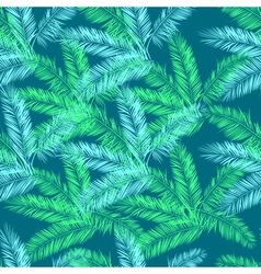 Teal blue and green palm seamless pattern Hawaiian vector image