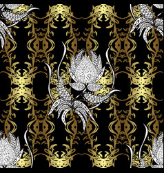 traditional classic golden seamless pattern black vector image