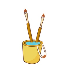 Two brushes in the basket vector