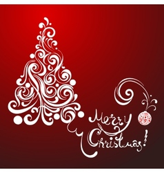 White lace christmas tree on red background vector