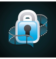 Padlock and film strip icon movie design vector