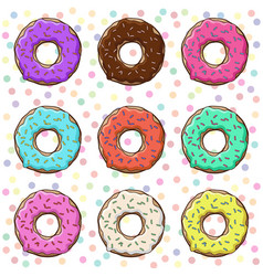 sweet donuts set with icing vector image