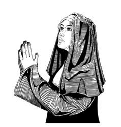 Nun is praying vector