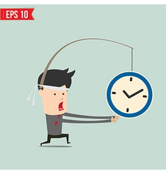 Cartoon business man trying to reach a clock - vector