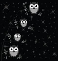 OWL FAMILY TREE STARS vector image