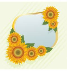 gold frame with abstract sunflowers vector image
