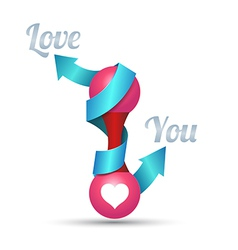Arrow love you for wedding and valentines day vector