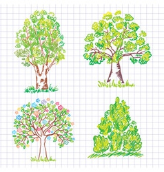 set of beautiful green trees vector image