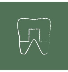 Crowned tooth icon drawn in chalk vector