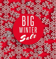 Big winter sale poster red background discount vector