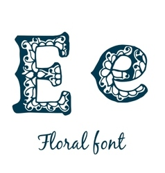Isolated stylized calligraphic floral alphabet vector image