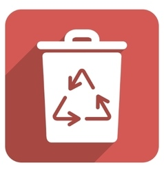 Trash can flat rounded square icon with long vector