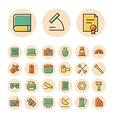 Icons thin red science device vector