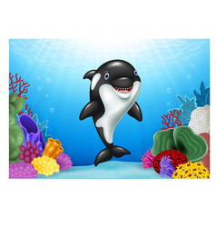 Cute orca with beautiful underwater world vector image